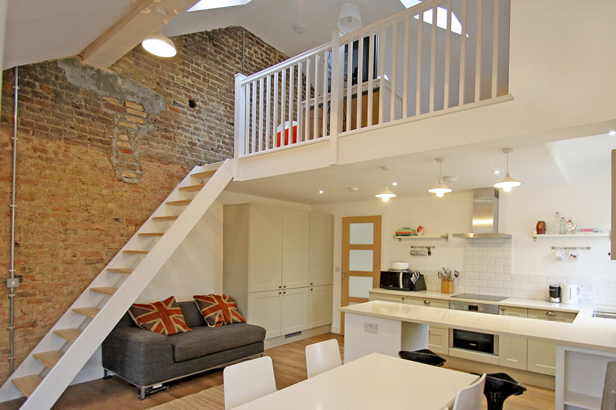 Flat refurbishment with feature mezzanine floor in kt1 for House plans with mezzanine floor