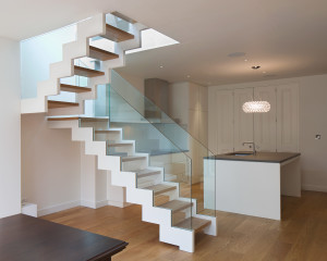 Open plan layout with an open stairwell
