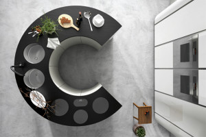 C shaped kitchen island